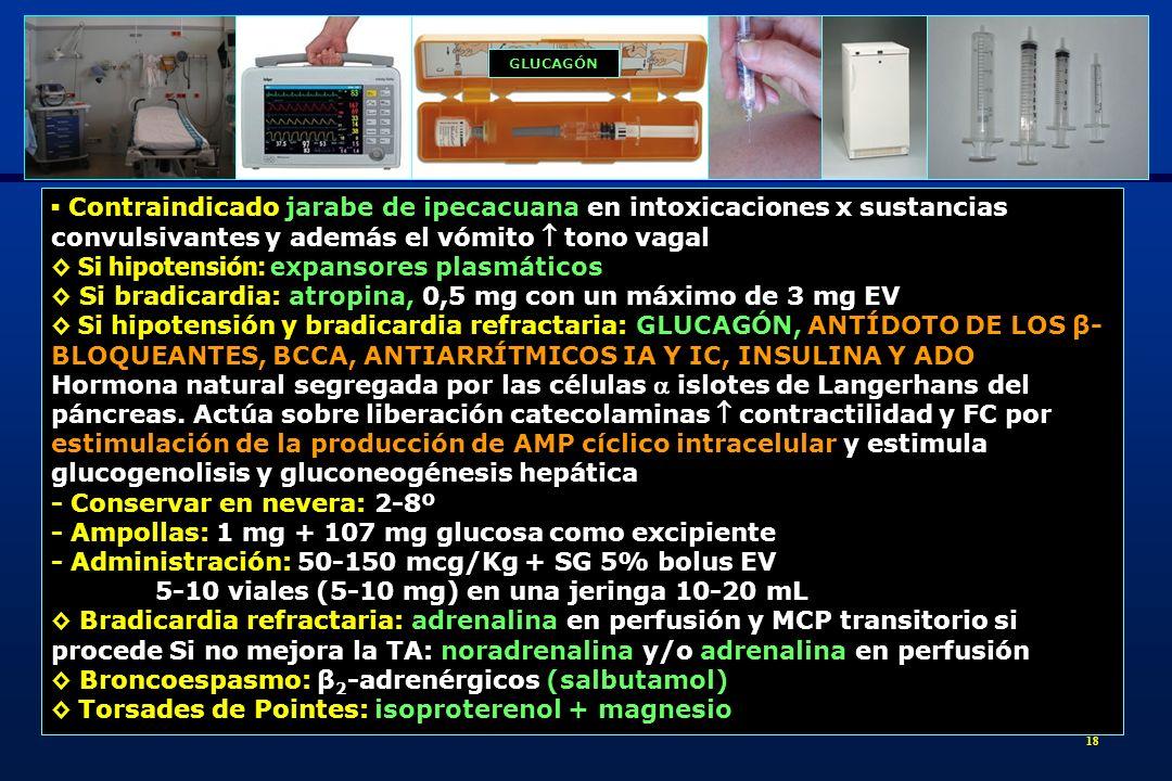 19 Shock refractario o parada cardiaca por tóxicos de elevada liposolubilidad y gran volumen distribución EMULSIÓN LIPÍDICA INTRAVENOSA (ELI) - Acción: modifica el volumen de distribución del tóxico x efecto esponja alta liposolubilidad en el torrente sanguíneo movilización del depósito tisular del tóxico (aparato cardiovascular) hacia el espacio extracelular, [tóxico en el órgano diana] y plasma - Ampolla: vial 20% de 100 mL de Lipofundina MCT/LCT (lípidos cadena media /larga), Tª ambiente y protegida de la luz -Vía periférica: sin riesgo de flebitis - Dosificación Shock refractario: bolus único 1,5 mL/Kg ELI 20% (100 mL para 60-70 Kg) seguido perfusión 7,5 mL/Kg (500 mL para 60-70 Kg) en 1 h.
