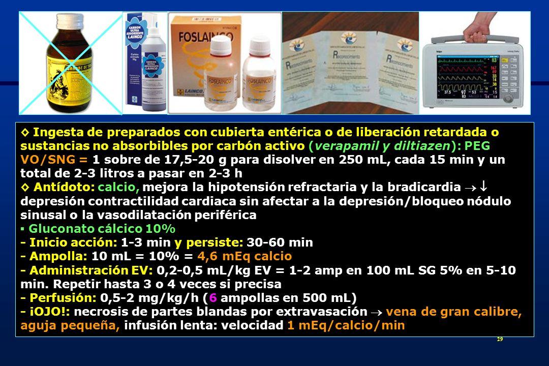 30 - Mucha precaución si digitálicos asociados - Precipita con bicarbonato Cloruro cálcico 10% - Ampolla: 10 mL = 10% = 9,13 mEq calcio - Administración EV: 2-5 mL = ½-1 ampolla en 5-10 min.