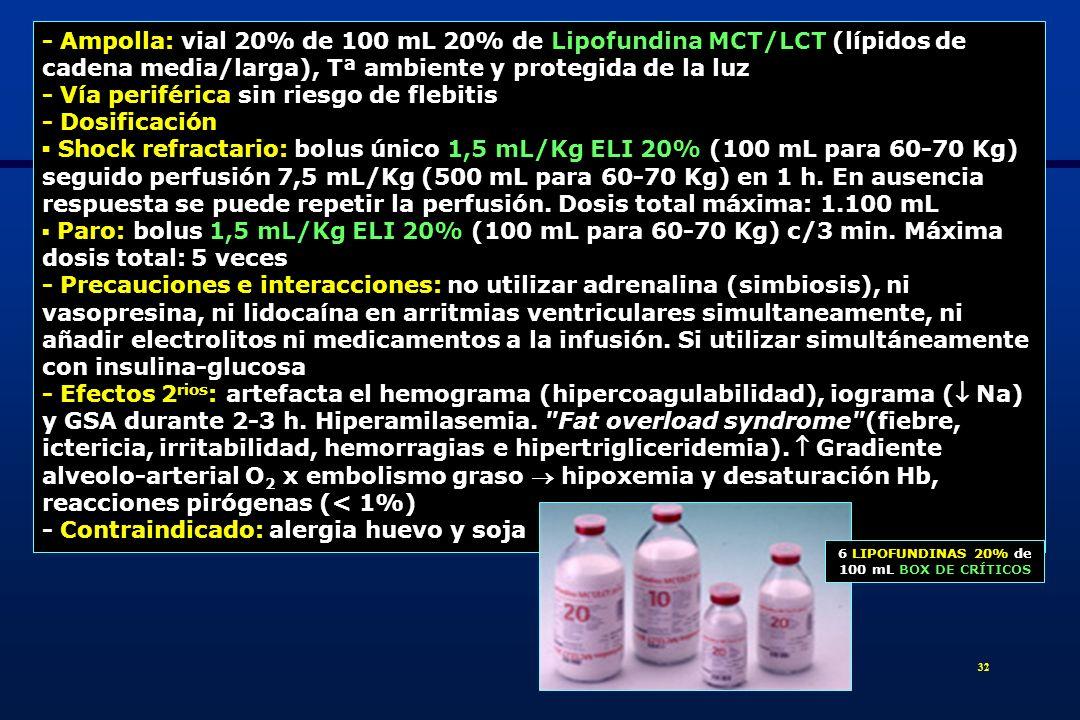 33 Azul de metileno 1% en bomba de perfusión: shock refractario x intoxicación grave por amlodipino (vasodilatador potente con una larguísima vida media vasodilatación x estimulación liberación óxido nítrico x producción GMPc (guanosina monofosfato cíclica) - Acción: inhibe la guanilato ciclasa, enzima responsable de la producción de GMPc e inhibe la óxido nítrico sintetasa encargada de eliminar el óxido nítrico - Dosificación: 2 mg/kg en 50 mL SG 5% en 20 min.