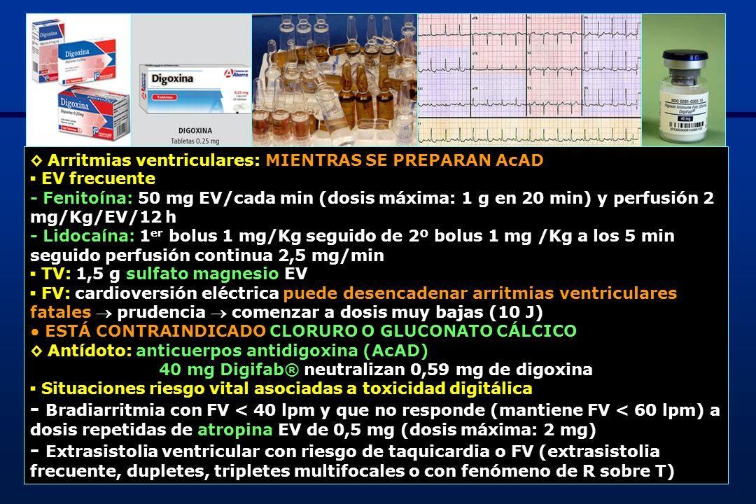 10 - Taquicardia ventricular y FV - Shock cardiogénico - Asistolia - K + > 5 mEq/L con presencia de otros signos de toxicidad digitálica, en la intoxicación aguda - Concentración plasmática de digoxina > 6 ng/mL (> 6 h postingesta) - Ingesta de > 10 mg de digoxina - Dos o más factores: varón, > 55 años, cardiopatía subyacente, bradicardia con bloqueo AV 2º o 3º, FV 4,5 mEq/L Dosificación AcAD - Estimación carga corporal total digoxina (CCTD) en base a la dosis ingerida: [nº cp] x [mg/cp] x [biodisponibilidad: 80% dosis ingerida = 0,8] Ej.: 25 cp x 0,25 mg x 0,8 = 5 mg - Estimación carga corporal total digoxina (CCTD) en base a la concentración plasmática y 6 h después de la ingesta: [concentración plasmática digoxina (ng/mL] x [volumen de distribución (habitual: 5 L/Kg)] x [peso en Kg] Ej.: 6 ng/mL x 5 L/Kg x 67 kg = 2 mg 40 mg AcAD neutralizan 0,5 mg digoxina Necesitamos 160 mg (4 viales) 50% dosis calculada al inicio (80 mg) y si no hay respuesta deseada en 1-2 h, completar la dosis (80 mg)