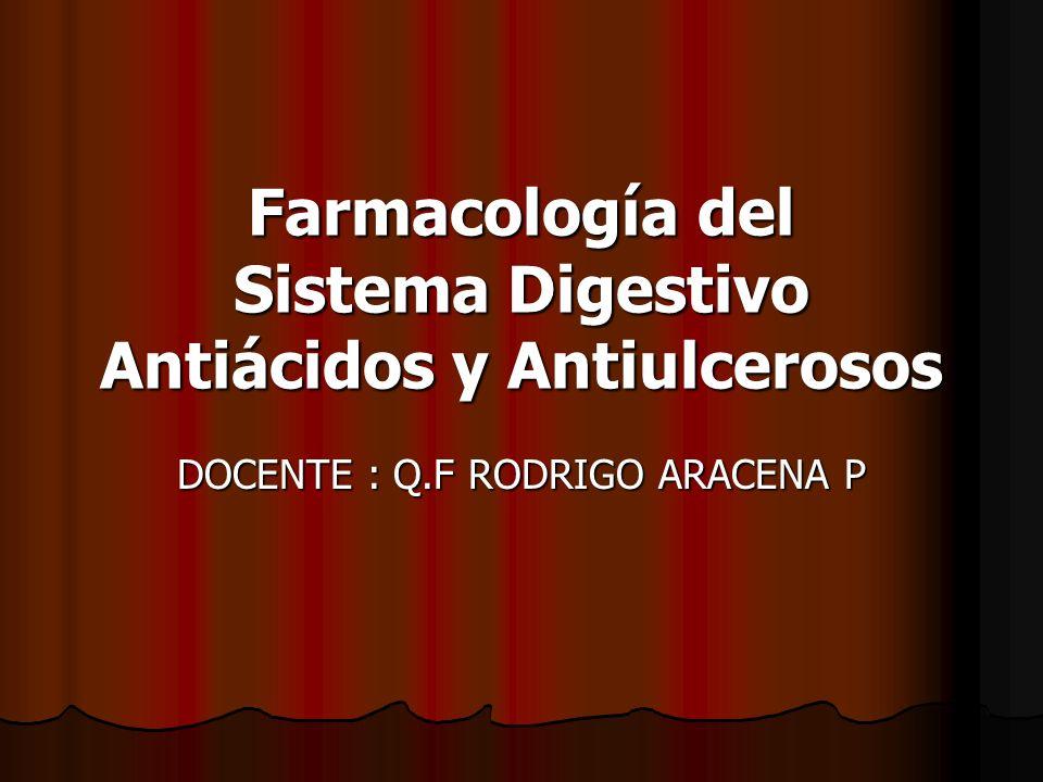 Farmacología del Sistema Digestivo Antiácidos y Antiulcerosos DOCENTE : Q.F RODRIGO ARACENA P