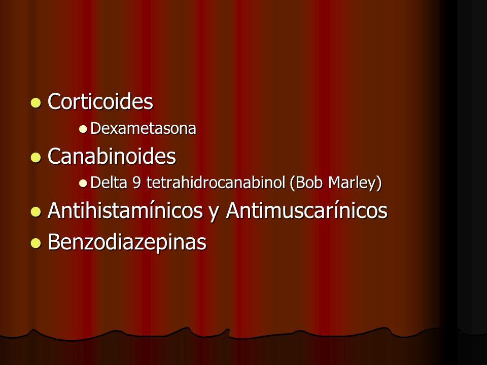 Corticoides Corticoides Dexametasona Dexametasona Canabinoides Canabinoides Delta 9 tetrahidrocanabinol (Bob Marley) Delta 9 tetrahidrocanabinol (Bob Marley) Antihistamínicos y Antimuscarínicos Antihistamínicos y Antimuscarínicos Benzodiazepinas Benzodiazepinas