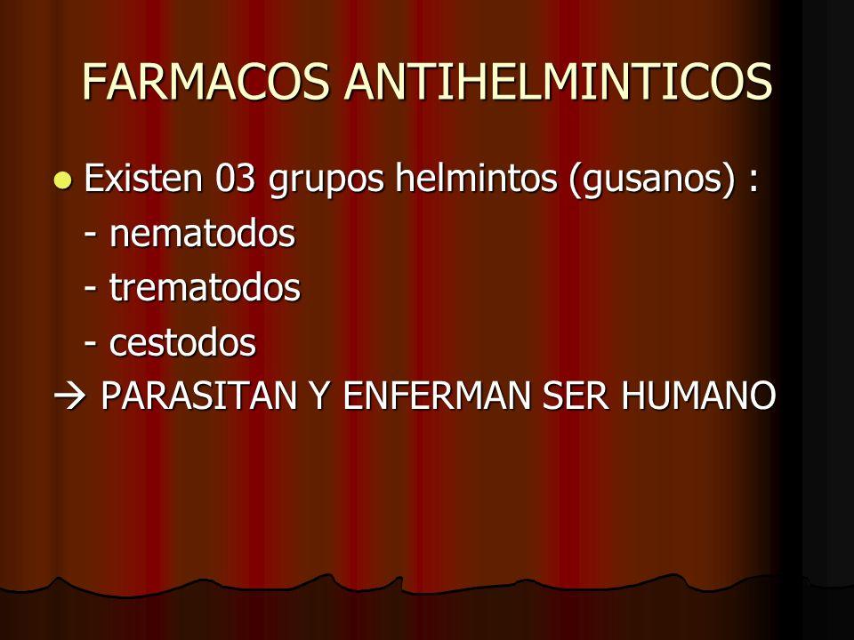 FARMACOS ANTIHELMINTICOS Existen 03 grupos helmintos (gusanos) : Existen 03 grupos helmintos (gusanos) : - nematodos - trematodos - cestodos PARASITAN Y ENFERMAN SER HUMANO PARASITAN Y ENFERMAN SER HUMANO
