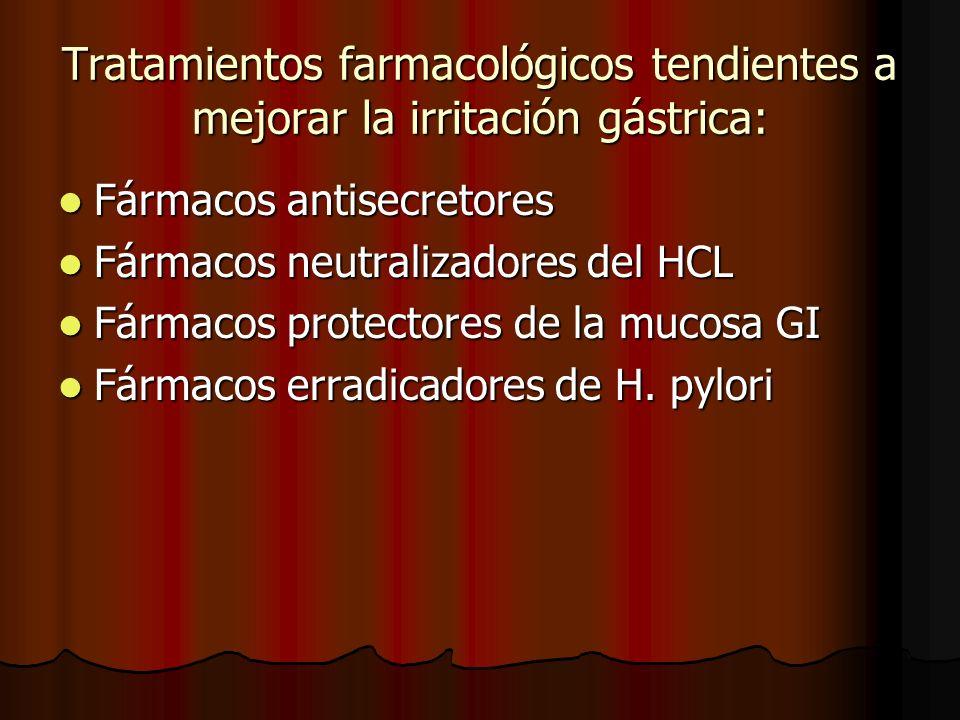 Tratamientos farmacológicos tendientes a mejorar la irritación gástrica: Fármacos antisecretores Fármacos antisecretores Fármacos neutralizadores del HCL Fármacos neutralizadores del HCL Fármacos protectores de la mucosa GI Fármacos protectores de la mucosa GI Fármacos erradicadores de H.