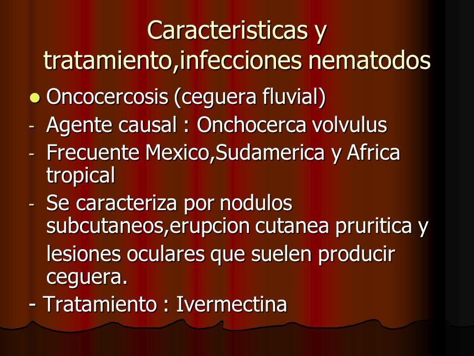 Caracteristicas y tratamiento,infecciones nematodos Oncocercosis (ceguera fluvial) Oncocercosis (ceguera fluvial) - Agente causal : Onchocerca volvulu
