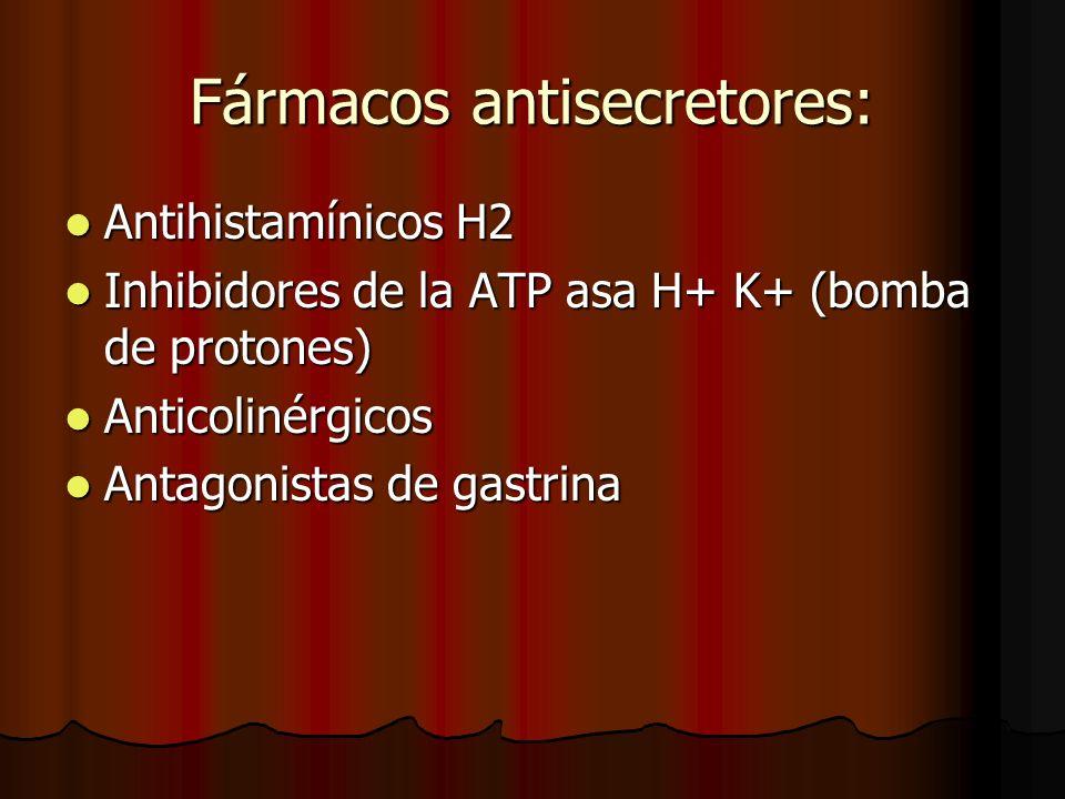 Fármacos antisecretores: Antihistamínicos H2 Antihistamínicos H2 Inhibidores de la ATP asa H+ K+ (bomba de protones) Inhibidores de la ATP asa H+ K+ (bomba de protones) Anticolinérgicos Anticolinérgicos Antagonistas de gastrina Antagonistas de gastrina