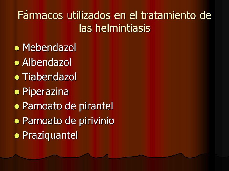 Fármacos utilizados en el tratamiento de las helmintiasis Mebendazol Mebendazol Albendazol Albendazol Tiabendazol Tiabendazol Piperazina Piperazina Pamoato de pirantel Pamoato de pirantel Pamoato de pirivinio Pamoato de pirivinio Praziquantel Praziquantel