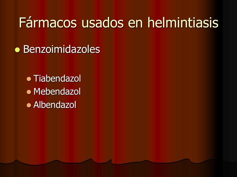 Fármacos usados en helmintiasis Benzoimidazoles Benzoimidazoles Tiabendazol Tiabendazol Mebendazol Mebendazol Albendazol Albendazol