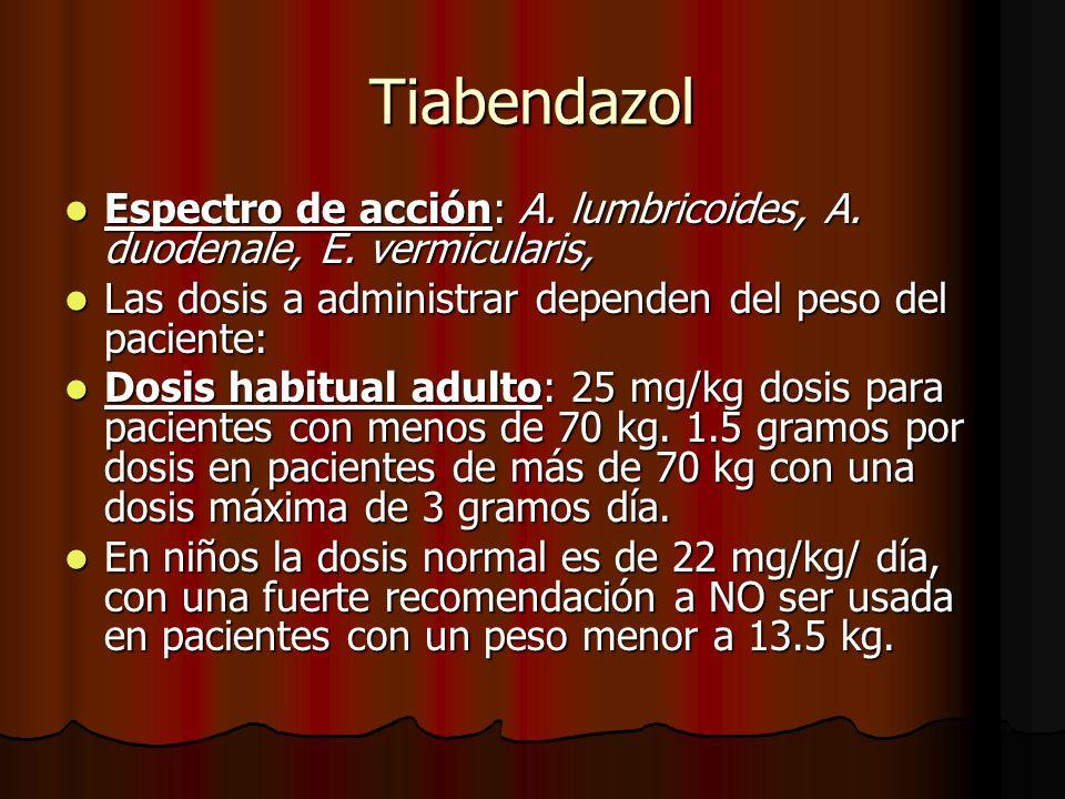 Tiabendazol Espectro de acción: A.lumbricoides, A.