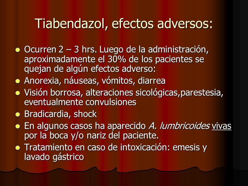 Tiabendazol, efectos adversos: Ocurren 2 – 3 hrs. Luego de la administración, aproximadamente el 30% de los pacientes se quejan de algún efectos adver