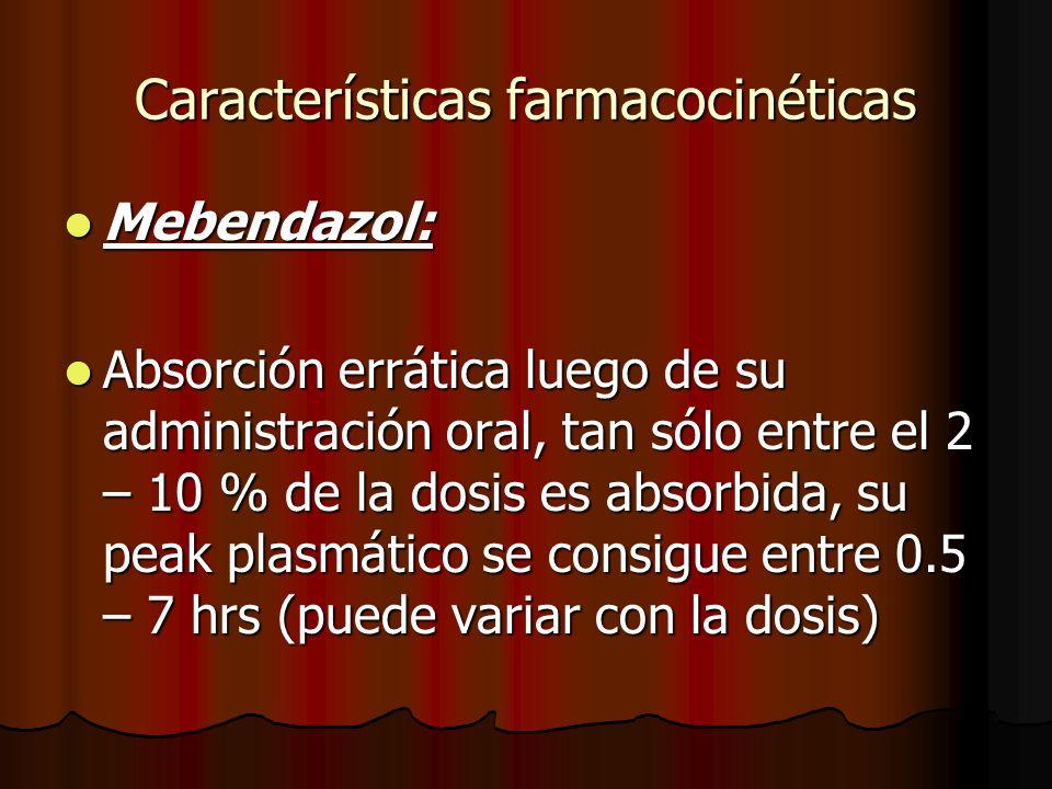 Características farmacocinéticas Mebendazol: Mebendazol: Absorción errática luego de su administración oral, tan sólo entre el 2 – 10 % de la dosis es absorbida, su peak plasmático se consigue entre 0.5 – 7 hrs (puede variar con la dosis) Absorción errática luego de su administración oral, tan sólo entre el 2 – 10 % de la dosis es absorbida, su peak plasmático se consigue entre 0.5 – 7 hrs (puede variar con la dosis)