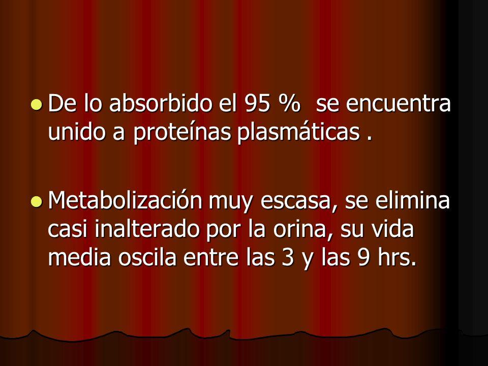 De lo absorbido el 95 % se encuentra unido a proteínas plasmáticas. De lo absorbido el 95 % se encuentra unido a proteínas plasmáticas. Metabolización