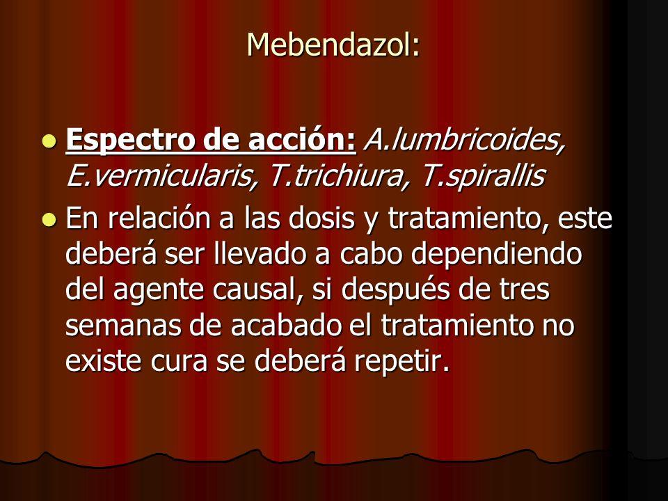 Mebendazol: Espectro de acción: A.lumbricoides, E.vermicularis, T.trichiura, T.spirallis Espectro de acción: A.lumbricoides, E.vermicularis, T.trichiura, T.spirallis En relación a las dosis y tratamiento, este deberá ser llevado a cabo dependiendo del agente causal, si después de tres semanas de acabado el tratamiento no existe cura se deberá repetir.