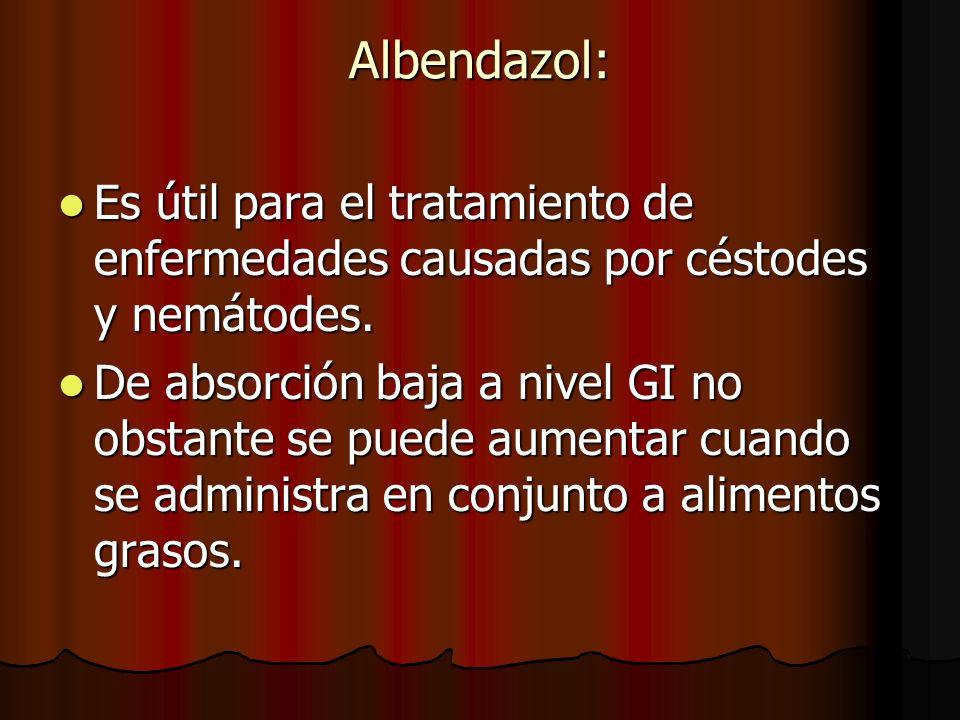 Albendazol: Es útil para el tratamiento de enfermedades causadas por céstodes y nemátodes. Es útil para el tratamiento de enfermedades causadas por cé