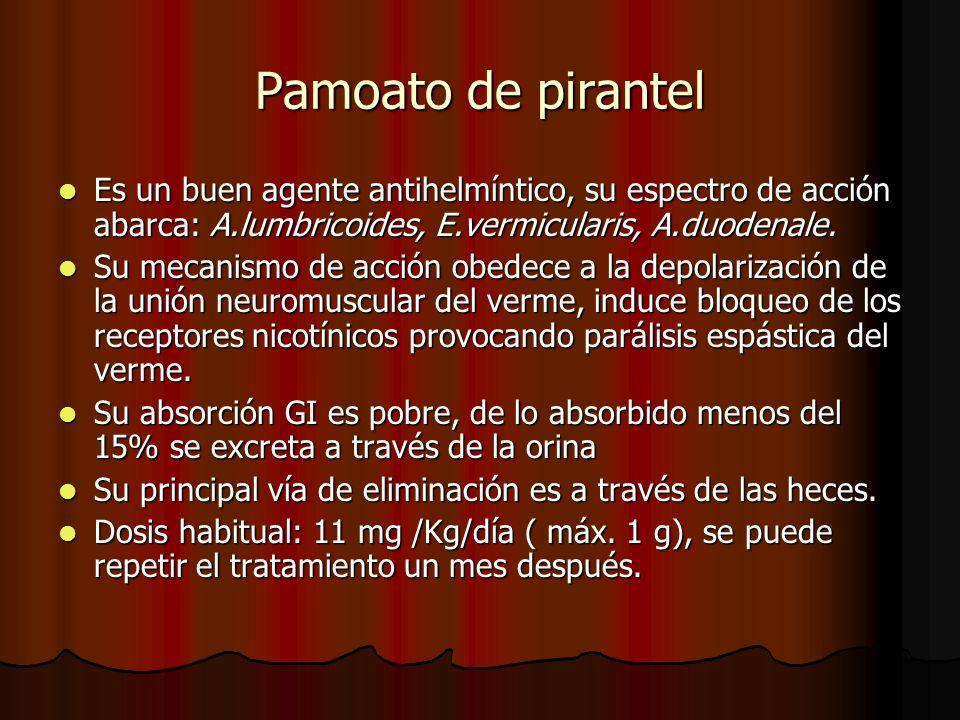 Pamoato de pirantel Es un buen agente antihelmíntico, su espectro de acción abarca: A.lumbricoides, E.vermicularis, A.duodenale. Es un buen agente ant