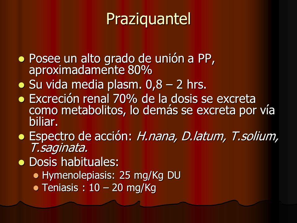 Praziquantel Posee un alto grado de unión a PP, aproximadamente 80% Posee un alto grado de unión a PP, aproximadamente 80% Su vida media plasm. 0,8 –