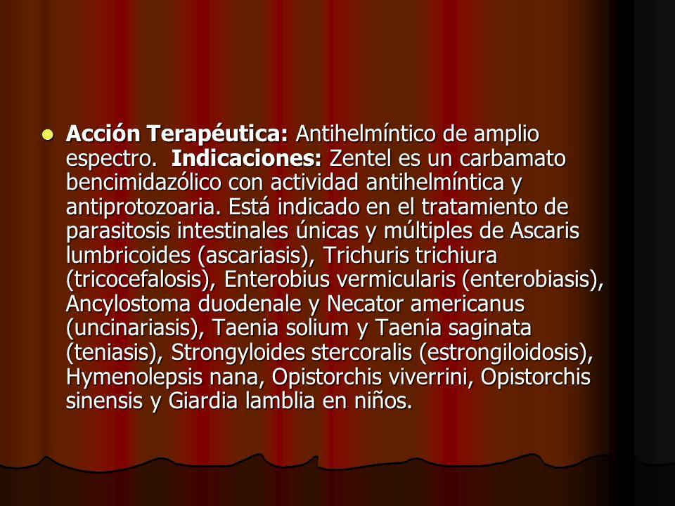 Acción Terapéutica: Antihelmíntico de amplio espectro. Indicaciones: Zentel es un carbamato bencimidazólico con actividad antihelmíntica y antiprotozo
