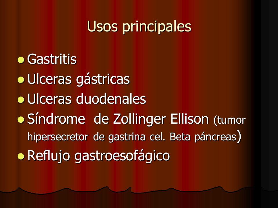 Usos principales Gastritis Gastritis Ulceras gástricas Ulceras gástricas Ulceras duodenales Ulceras duodenales Síndrome de Zollinger Ellison (tumor hipersecretor de gastrina cel.