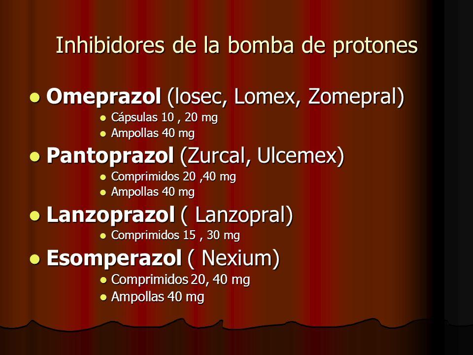 Inhibidores de la bomba de protones Omeprazol (losec, Lomex, Zomepral) Omeprazol (losec, Lomex, Zomepral) Cápsulas 10, 20 mg Cápsulas 10, 20 mg Ampollas 40 mg Ampollas 40 mg Pantoprazol (Zurcal, Ulcemex) Pantoprazol (Zurcal, Ulcemex) Comprimidos 20,40 mg Comprimidos 20,40 mg Ampollas 40 mg Ampollas 40 mg Lanzoprazol ( Lanzopral) Lanzoprazol ( Lanzopral) Comprimidos 15, 30 mg Comprimidos 15, 30 mg Esomperazol ( Nexium) Esomperazol ( Nexium) Comprimidos 20, 40 mg Comprimidos 20, 40 mg Ampollas 40 mg Ampollas 40 mg