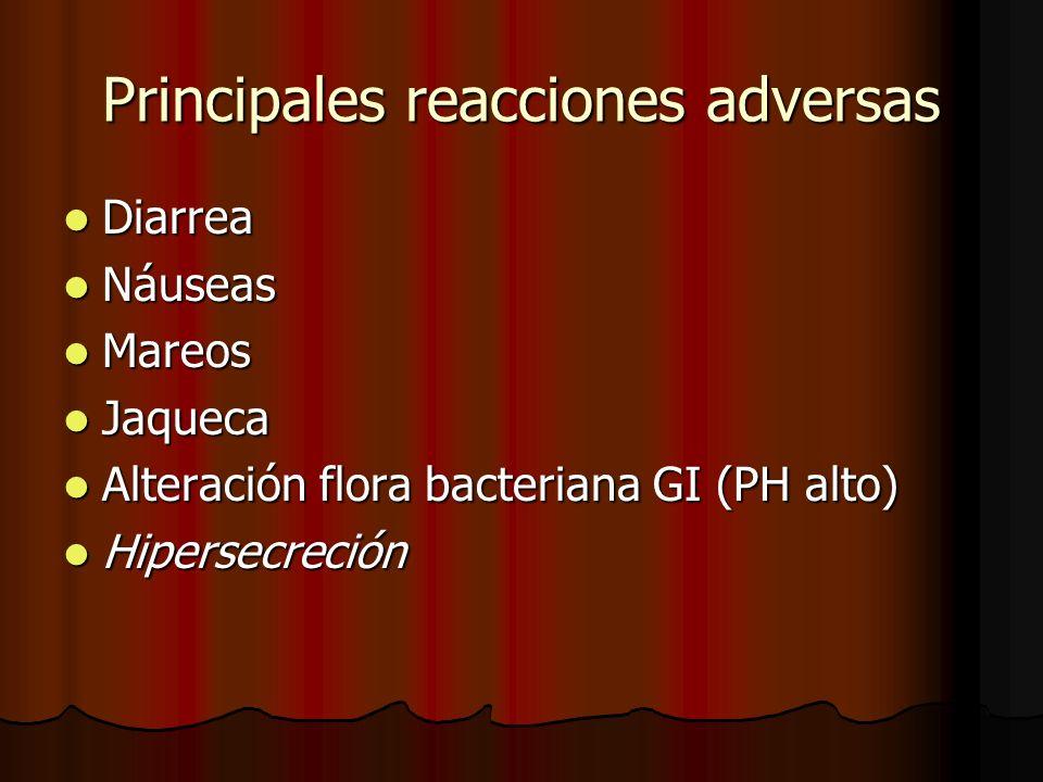 Principales reacciones adversas Diarrea Diarrea Náuseas Náuseas Mareos Mareos Jaqueca Jaqueca Alteración flora bacteriana GI (PH alto) Alteración flora bacteriana GI (PH alto) Hipersecreción Hipersecreción