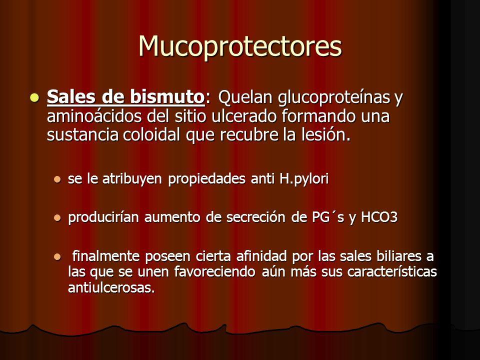 Mucoprotectores Sales de bismuto: Quelan glucoproteínas y aminoácidos del sitio ulcerado formando una sustancia coloidal que recubre la lesión. Sales