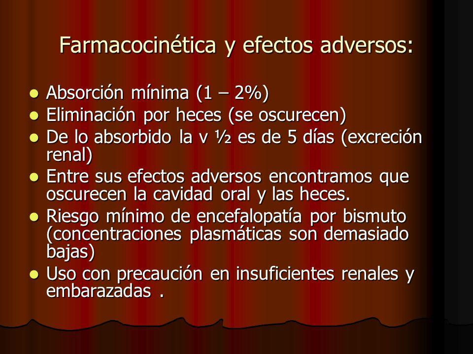 Farmacocinética y efectos adversos: Absorción mínima (1 – 2%) Absorción mínima (1 – 2%) Eliminación por heces (se oscurecen) Eliminación por heces (se oscurecen) De lo absorbido la v ½ es de 5 días (excreción renal) De lo absorbido la v ½ es de 5 días (excreción renal) Entre sus efectos adversos encontramos que oscurecen la cavidad oral y las heces.