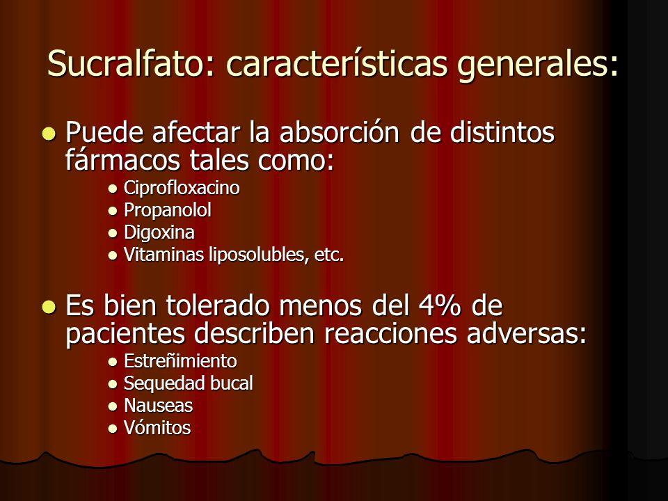 Sucralfato: características generales: Puede afectar la absorción de distintos fármacos tales como: Puede afectar la absorción de distintos fármacos tales como: Ciprofloxacino Ciprofloxacino Propanolol Propanolol Digoxina Digoxina Vitaminas liposolubles, etc.