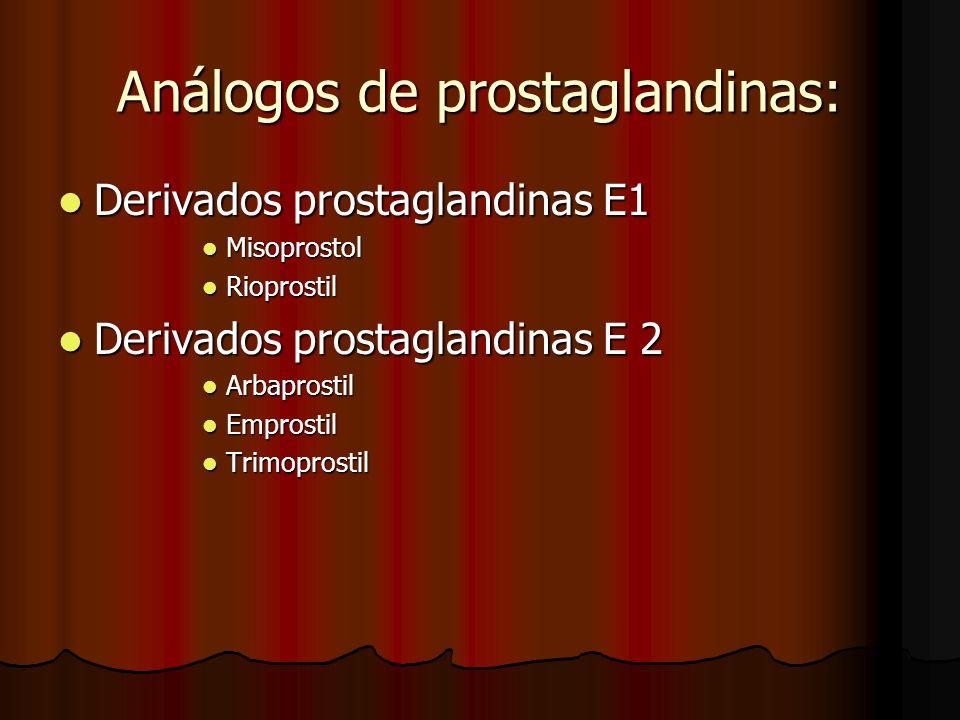 Análogos de prostaglandinas: Derivados prostaglandinas E1 Derivados prostaglandinas E1 Misoprostol Misoprostol Rioprostil Rioprostil Derivados prostag