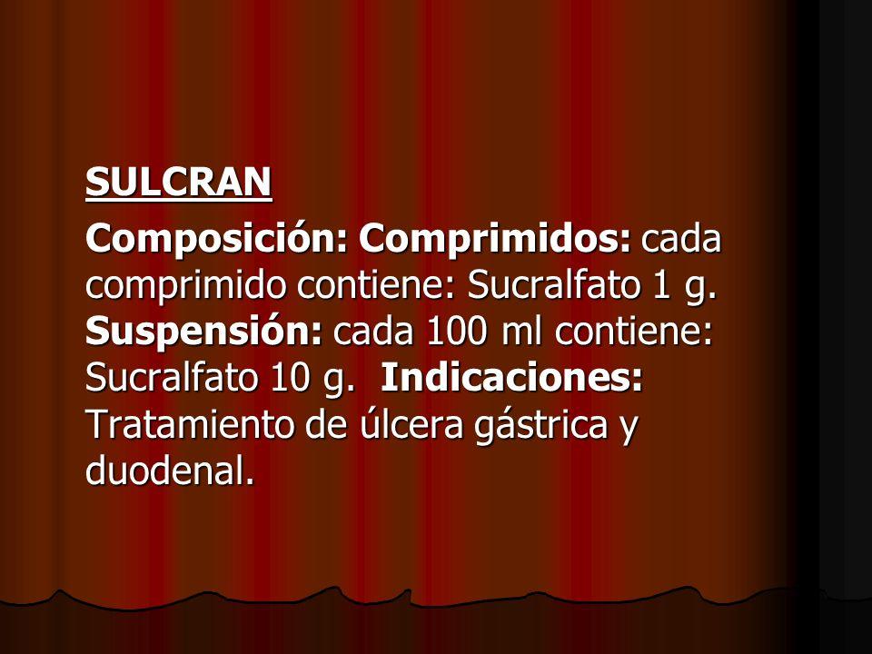 SULCRAN Composición: Comprimidos: cada comprimido contiene: Sucralfato 1 g. Suspensión: cada 100 ml contiene: Sucralfato 10 g. Indicaciones: Tratamien