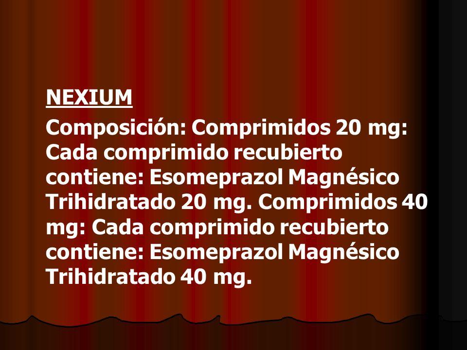NEXIUM Composición: Comprimidos 20 mg: Cada comprimido recubierto contiene: Esomeprazol Magnésico Trihidratado 20 mg. Comprimidos 40 mg: Cada comprimi