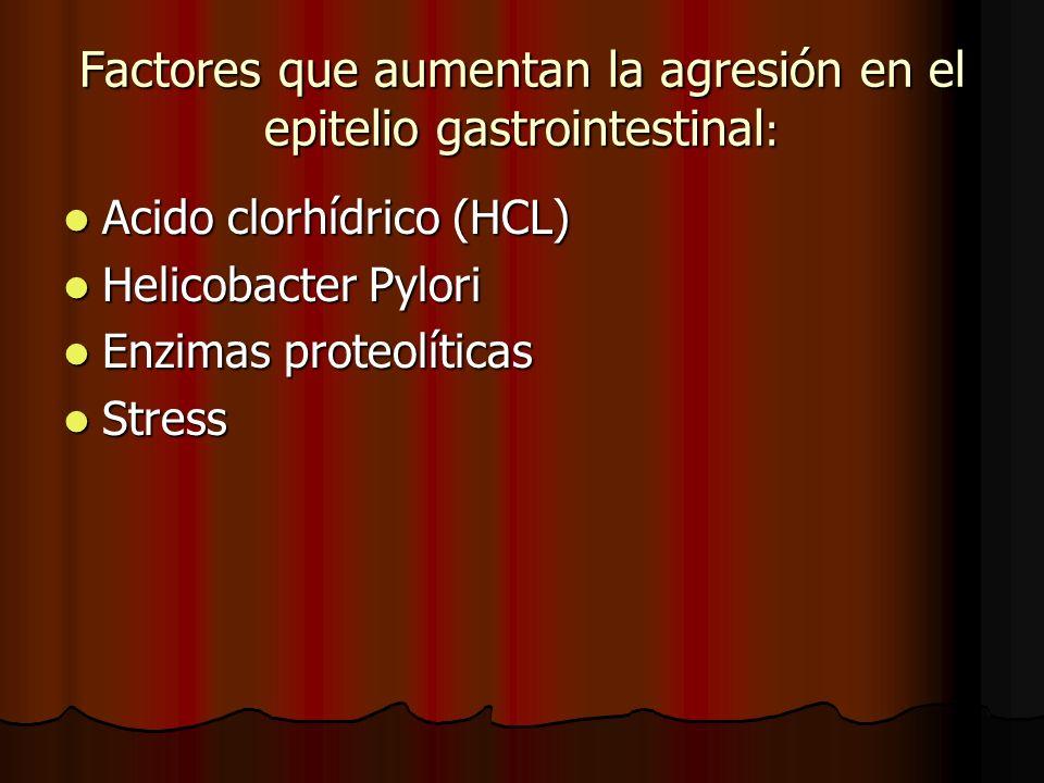 Factores que aumentan la agresión en el epitelio gastrointestinal : Acido clorhídrico (HCL) Acido clorhídrico (HCL) Helicobacter Pylori Helicobacter Pylori Enzimas proteolíticas Enzimas proteolíticas Stress Stress