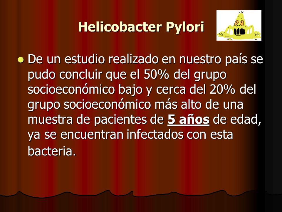 Helicobacter Pylori De un estudio realizado en nuestro país se pudo concluir que el 50% del grupo socioeconómico bajo y cerca del 20% del grupo socioeconómico más alto de una muestra de pacientes de 5 años de edad, ya se encuentran infectados con esta bacteria.