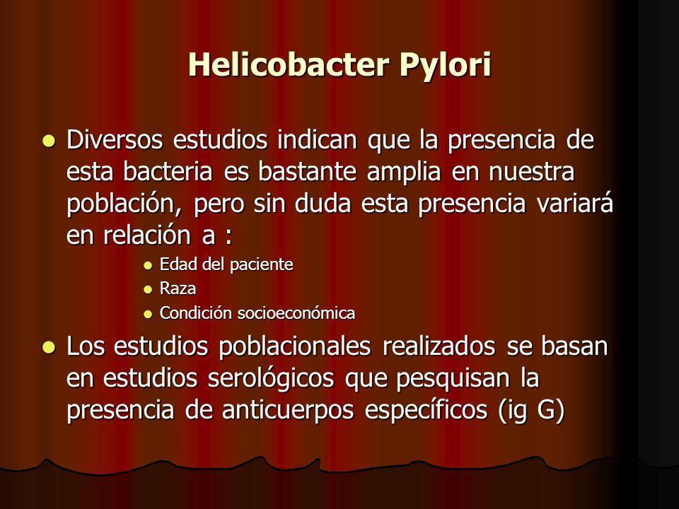 Helicobacter Pylori Diversos estudios indican que la presencia de esta bacteria es bastante amplia en nuestra población, pero sin duda esta presencia