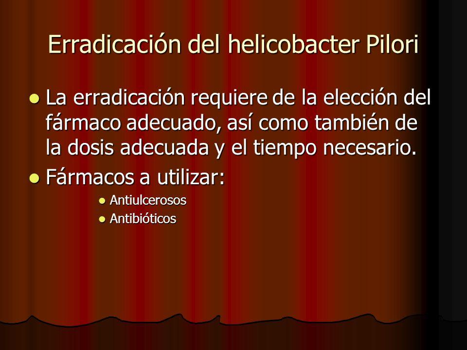 Erradicación del helicobacter Pilori La erradicación requiere de la elección del fármaco adecuado, así como también de la dosis adecuada y el tiempo necesario.