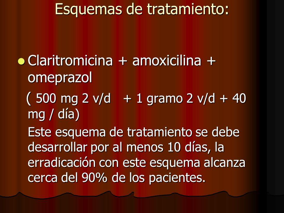 Esquemas de tratamiento: Claritromicina + amoxicilina + omeprazol Claritromicina + amoxicilina + omeprazol ( 500 mg 2 v/d + 1 gramo 2 v/d + 40 mg / día) ( 500 mg 2 v/d + 1 gramo 2 v/d + 40 mg / día) Este esquema de tratamiento se debe desarrollar por al menos 10 días, la erradicación con este esquema alcanza cerca del 90% de los pacientes.