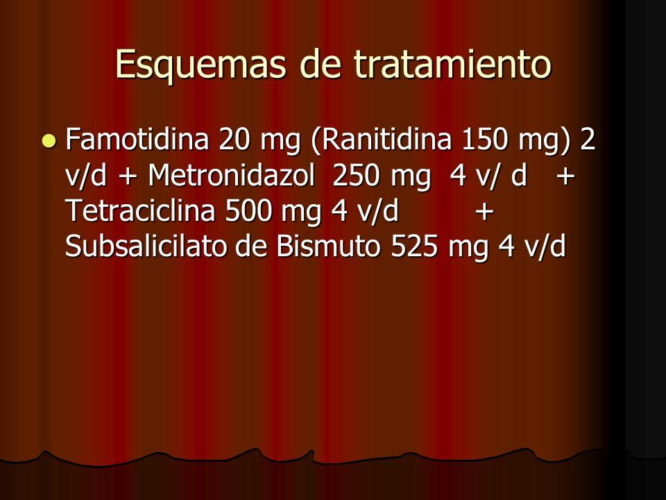Esquemas de tratamiento Famotidina 20 mg (Ranitidina 150 mg) 2 v/d + Metronidazol 250 mg 4 v/ d + Tetraciclina 500 mg 4 v/d + Subsalicilato de Bismuto 525 mg 4 v/d Famotidina 20 mg (Ranitidina 150 mg) 2 v/d + Metronidazol 250 mg 4 v/ d + Tetraciclina 500 mg 4 v/d + Subsalicilato de Bismuto 525 mg 4 v/d
