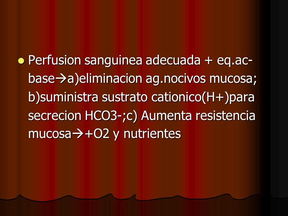 Perfusion sanguinea adecuada + eq.ac- Perfusion sanguinea adecuada + eq.ac- base a)eliminacion ag.nocivos mucosa; b)suministra sustrato cationico(H+)p