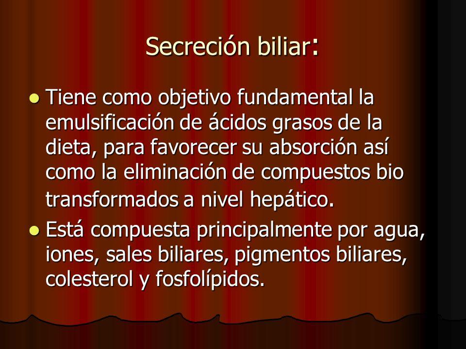 Secreción biliar : Tiene como objetivo fundamental la emulsificación de ácidos grasos de la dieta, para favorecer su absorción así como la eliminación de compuestos bio transformados a nivel hepático.
