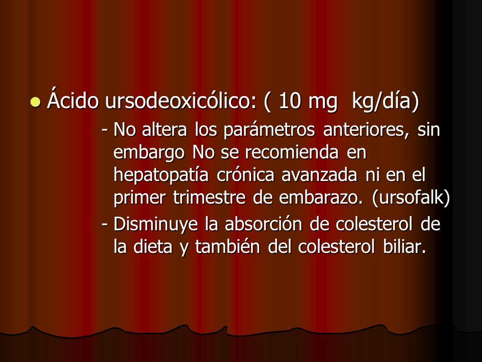 Ácido ursodeoxicólico: ( 10 mg kg/día) Ácido ursodeoxicólico: ( 10 mg kg/día) -No altera los parámetros anteriores, sin embargo No se recomienda en hepatopatía crónica avanzada ni en el primer trimestre de embarazo.