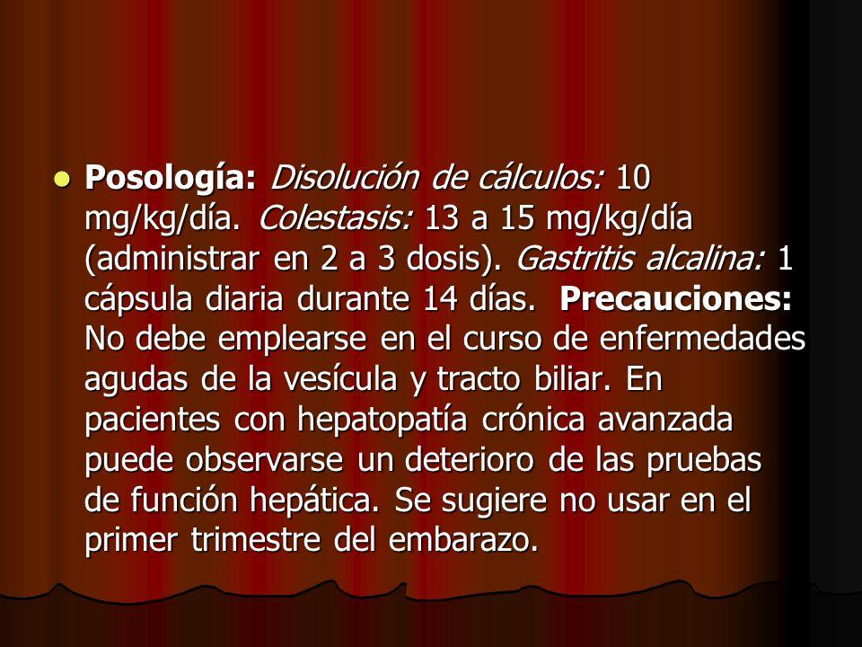 Posología: Disolución de cálculos: 10 mg/kg/día. Colestasis: 13 a 15 mg/kg/día (administrar en 2 a 3 dosis). Gastritis alcalina: 1 cápsula diaria dura