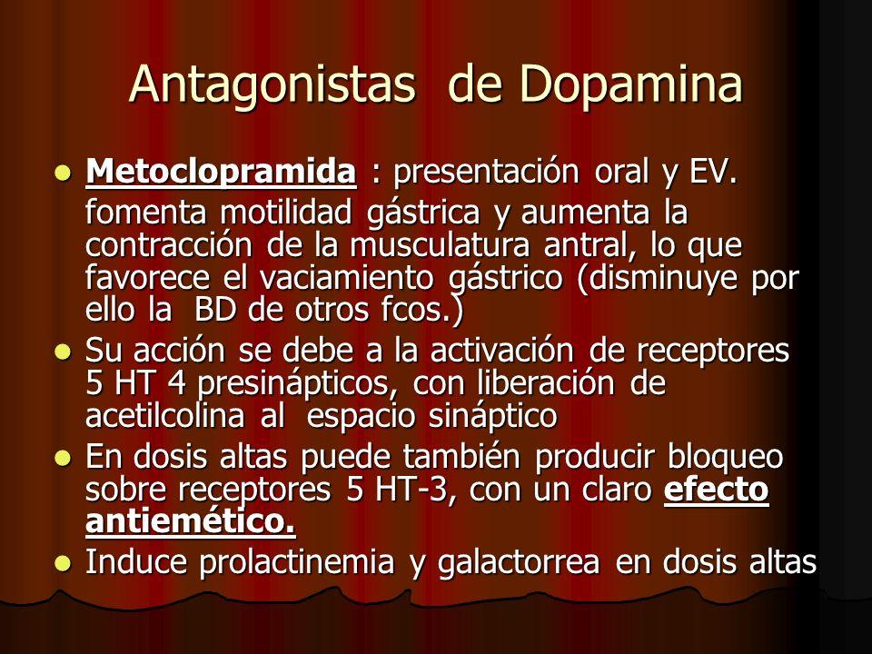 Antagonistas de Dopamina Metoclopramida : presentación oral y EV. Metoclopramida : presentación oral y EV. fomenta motilidad gástrica y aumenta la con