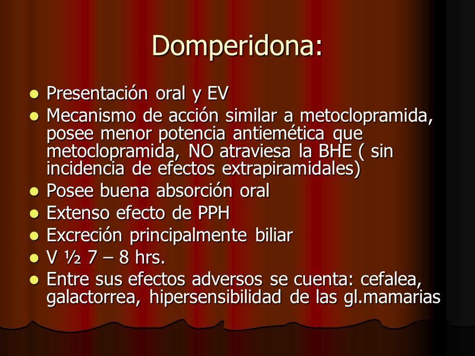 Domperidona: Presentación oral y EV Presentación oral y EV Mecanismo de acción similar a metoclopramida, posee menor potencia antiemética que metoclop