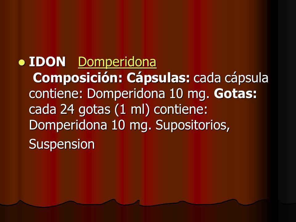 IDON Domperidona Composición: Cápsulas: cada cápsula contiene: Domperidona 10 mg. Gotas: cada 24 gotas (1 ml) contiene: Domperidona 10 mg. Supositorio