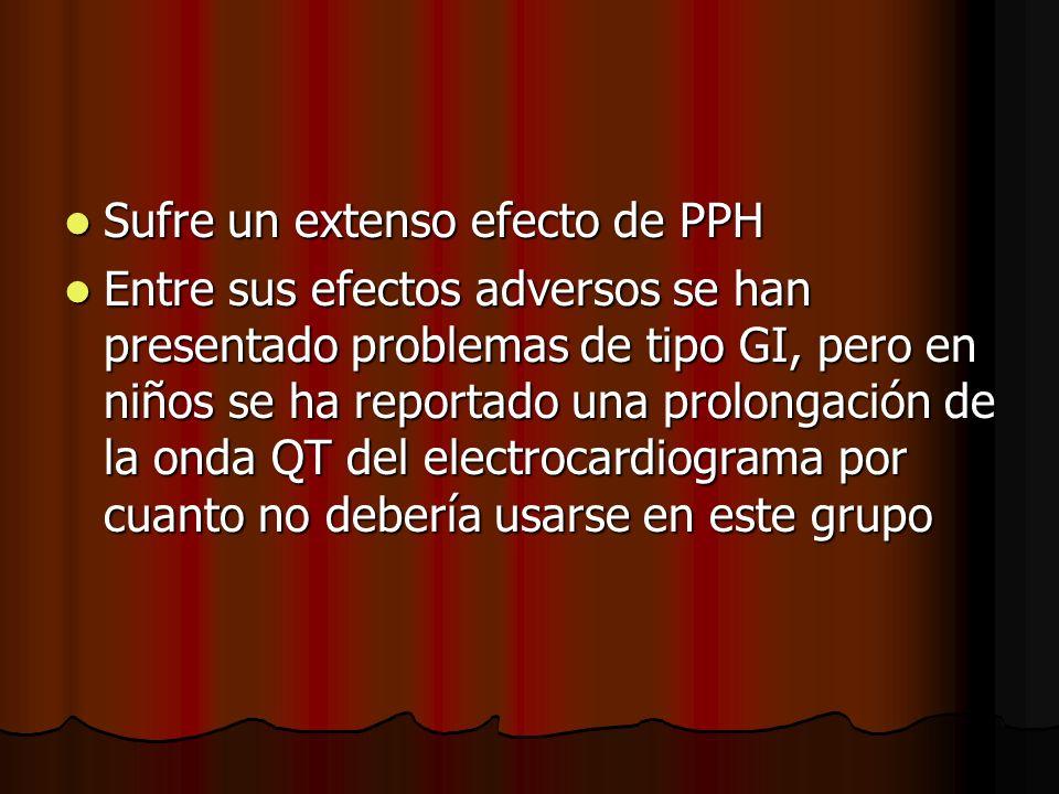 Sufre un extenso efecto de PPH Sufre un extenso efecto de PPH Entre sus efectos adversos se han presentado problemas de tipo GI, pero en niños se ha r