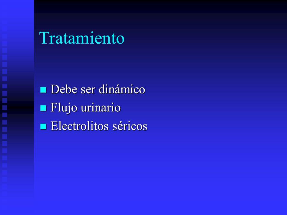 Tratamiento Debe ser dinámico Debe ser dinámico Flujo urinario Flujo urinario Electrolitos séricos Electrolitos séricos