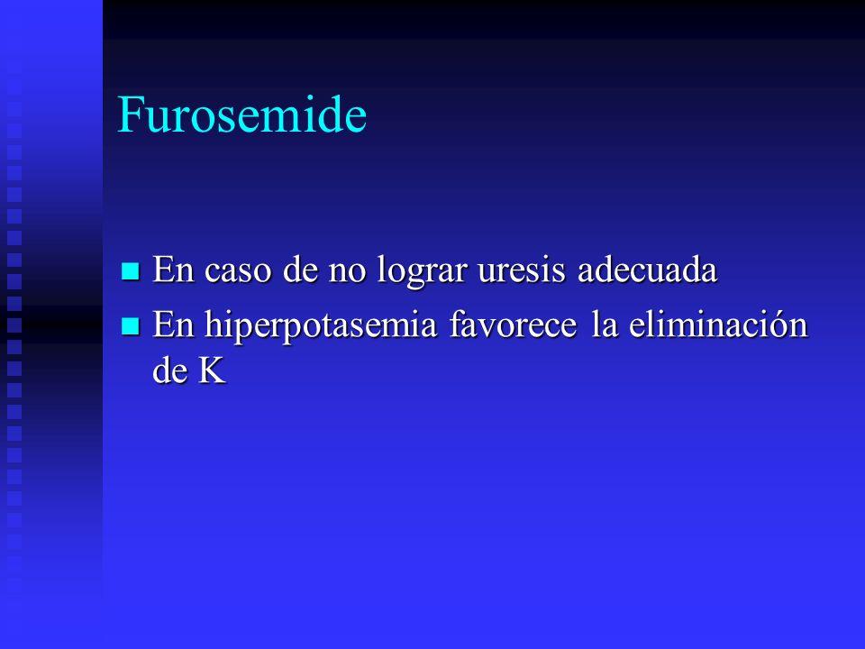 Furosemide En caso de no lograr uresis adecuada En caso de no lograr uresis adecuada En hiperpotasemia favorece la eliminación de K En hiperpotasemia