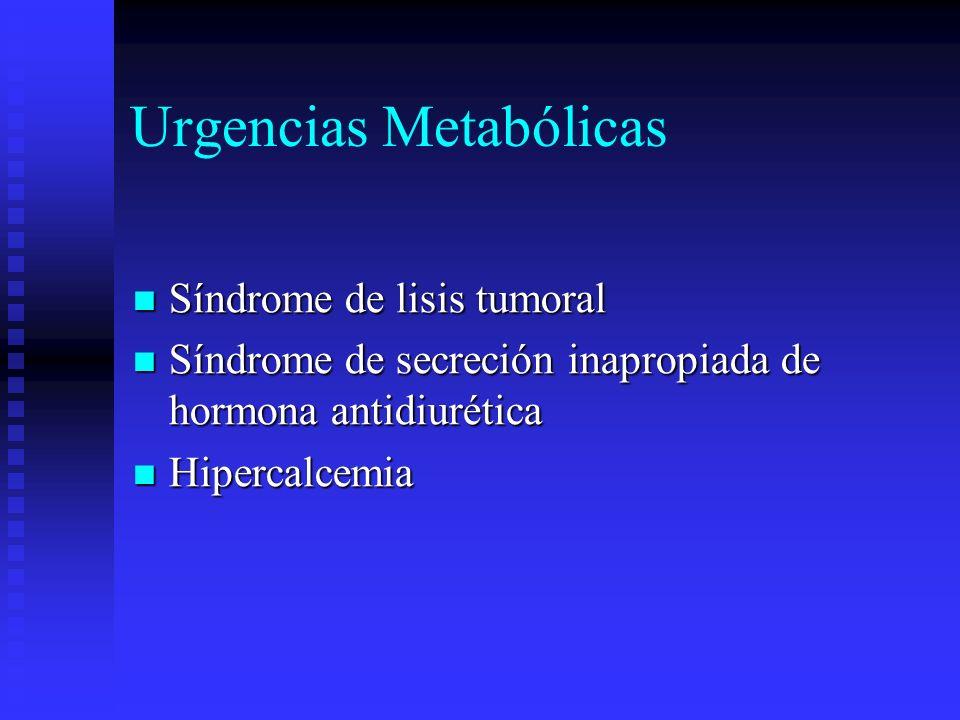 Urgencias Metabólicas Síndrome de lisis tumoral Síndrome de lisis tumoral Síndrome de secreción inapropiada de hormona antidiurética Síndrome de secre