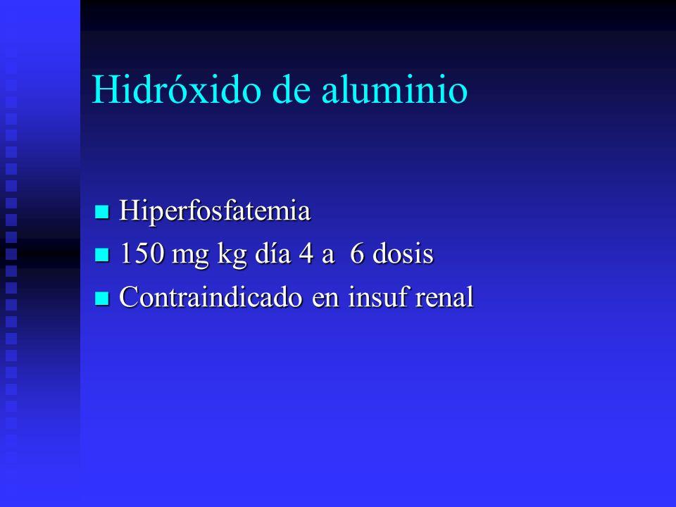 Hidróxido de aluminio Hiperfosfatemia Hiperfosfatemia 150 mg kg día 4 a 6 dosis 150 mg kg día 4 a 6 dosis Contraindicado en insuf renal Contraindicado