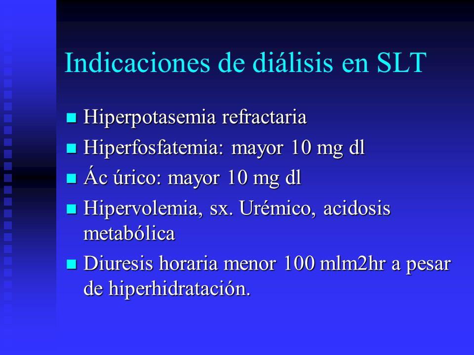 Indicaciones de diálisis en SLT Hiperpotasemia refractaria Hiperpotasemia refractaria Hiperfosfatemia: mayor 10 mg dl Hiperfosfatemia: mayor 10 mg dl