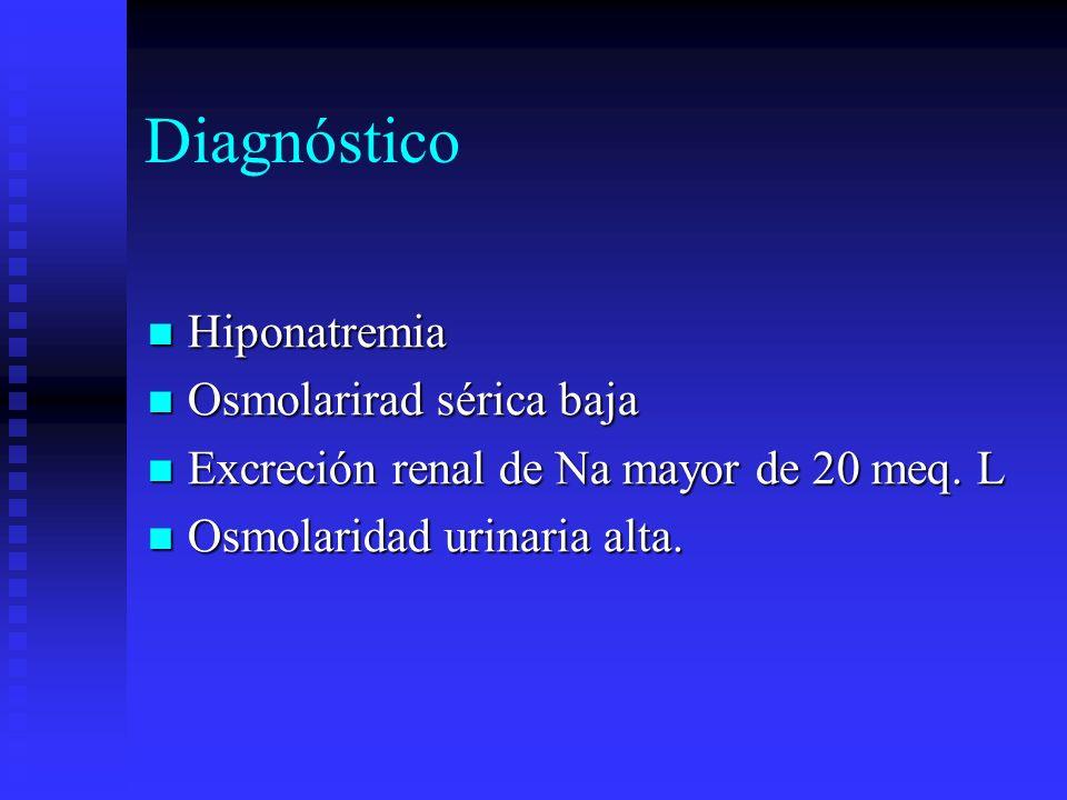 Diagnóstico Hiponatremia Hiponatremia Osmolarirad sérica baja Osmolarirad sérica baja Excreción renal de Na mayor de 20 meq. L Excreción renal de Na m